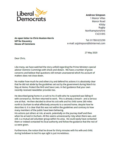 Open letter to Daventry MP Chris Heaton Harris
